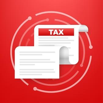 Icona di tassazione isolata. un modulo fiscale semplificato. forma del documento non compilata e minimalista. illustrazione vettoriale