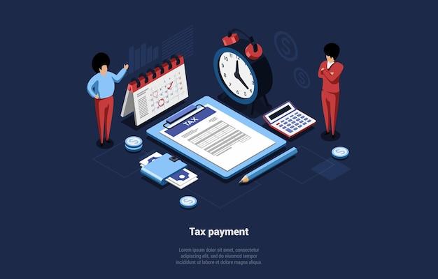 Illustrazione concettuale di pagamento di tassazione nello stile del fumetto 3d