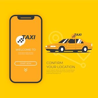 Concetto di app taxi con auto
