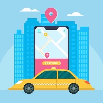 Concetto di design dell'applicazione taxi