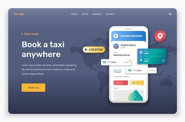 Applicazione taxi con profilo modello di pagina di destinazione