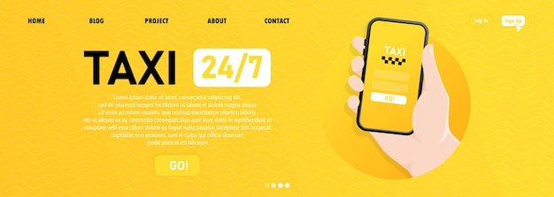 Banner di taxi o illustrazione di servizio taxi ordine applicazione mobile online