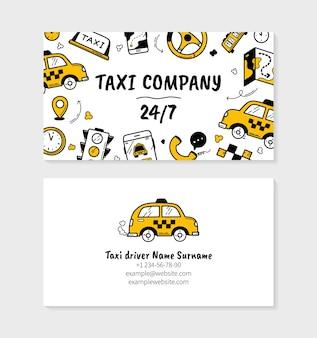 Modello di biglietto da visita aziendale taxi in stile doodle