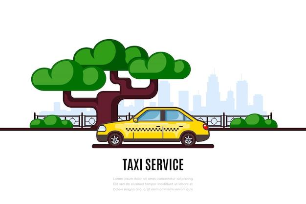 Parcheggio auto taxi lungo la via cittadina. bandiera di concetto di stile piano servizio taxi.