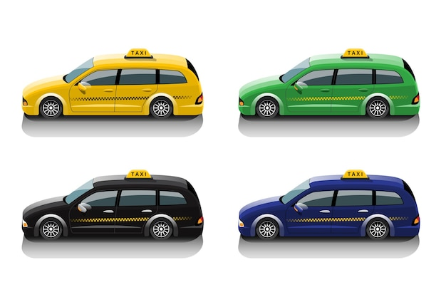 Set di auto taxi