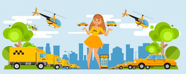 La ragazza del dispatcher del taxi prende le chiamate sopra l'insieme dell'illustrazione della cuffia avricolare. autovetture e camion per lo smaltimento dell'azienda