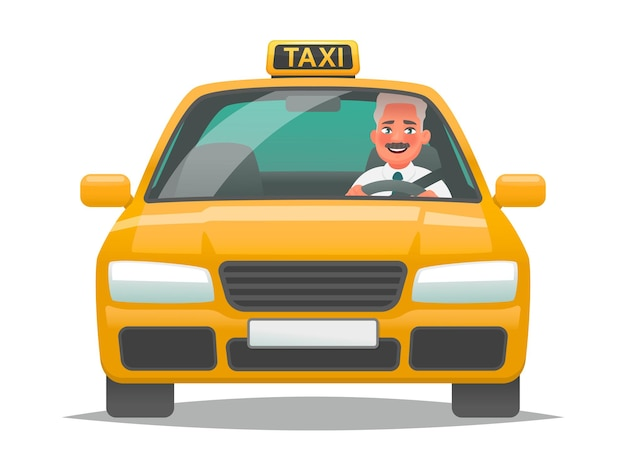 Uomo del tassista alla guida di un'auto gialla su uno sfondo isolato. illustrazione vettoriale in stile cartone animato