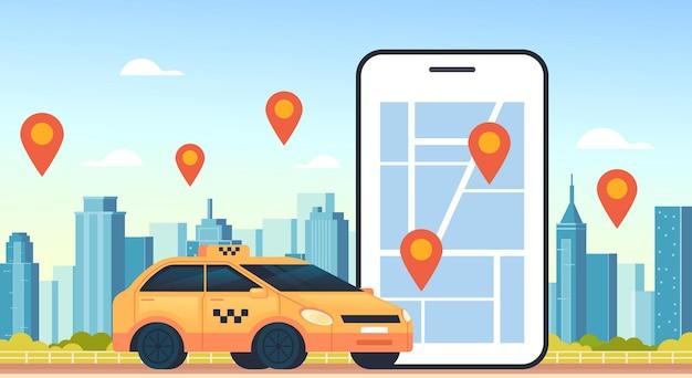 Taxi internet mobile online uber car sharing concetto di parcheggio