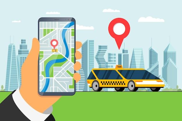 Servizio di ordinazione taxi app design mano che tiene smartphone con geotag gps posizione arrivo pin