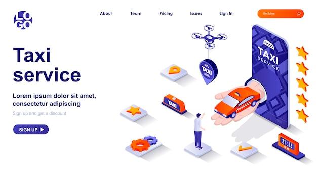 Pagina di destinazione isometrica 3d del servizio taxi con personaggi di persone