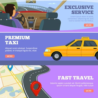 Banner di servizio taxi. autista di automobili giallo di servizio nel modello di pubblicità delle alette di filatoio della mappa stradale dell'automobile premium