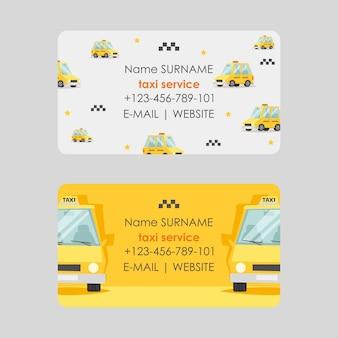 Progettazione di biglietto da visita di servizio di taxi, illustrazione. contatti veloci e affidabili dell'azienda.