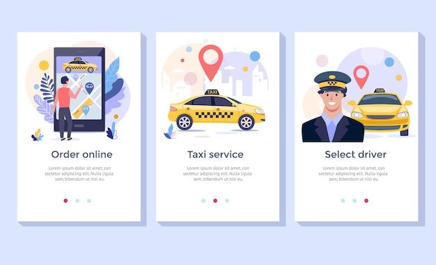 Illustrazione del concetto di servizio taxi ordina il design dell'applicazione mobile del servizio online di taxi