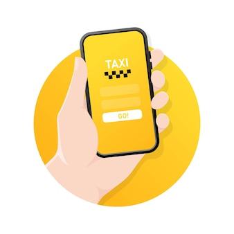 Illustrazione di servizio taxi con mano che tiene smartphone