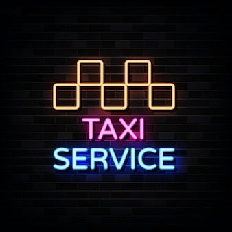 Insegne al neon di servizio taxi. modello di disegno in stile neon