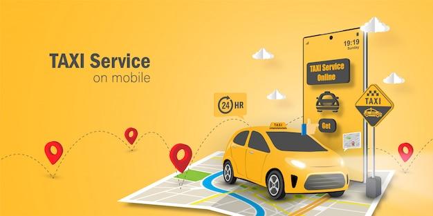 Servizio taxi online concetto, applicazione di servizio taxi sul cellulare