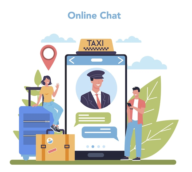 Servizio o piattaforma online di servizio taxi. auto taxi giallo. idea di trasporto pubblico cittadino. chat online. illustrazione piatta isolata