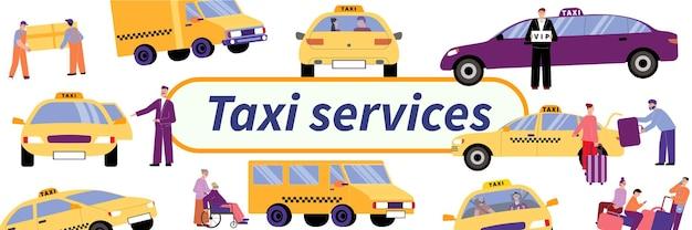 Modello di servizio taxi con illustrazione di elementi isolati