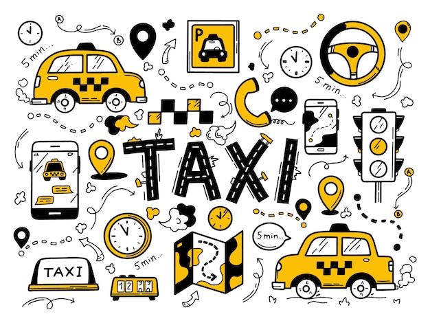Taxi impostato nello stile disegnato a mano di doodle