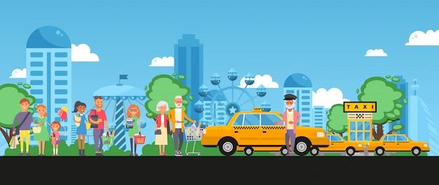 Taxi set parcheggio, linea clienti con acquisti, illustrazione persone con pacchetto, carrello e prodotto vicino all'automobile