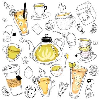 Assortimento di tè con spezie e dolci