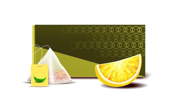 Confezione vuota bustina di tè e pezzo di limone vector