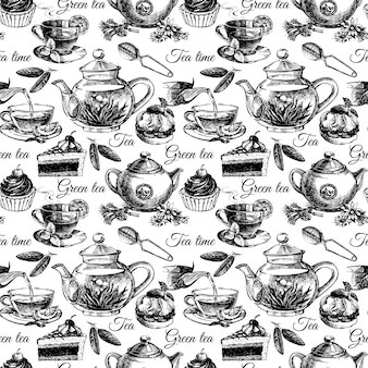Modello senza cuciture di tè e torta. illustrazione vettoriale di schizzo disegnato a mano. progettazione del menu