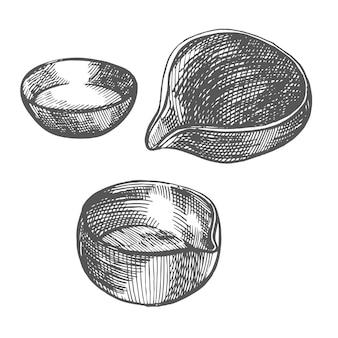 Illustrazione disegnata a mano di vettore dell'illustrazione grafica della ciotola di cerimonia del tè tradizionale cinese