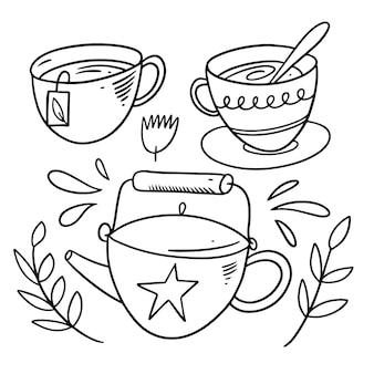 Cerimonia del tè con teiera e tazze. stile doodle. colorazione di tiraggio della mano del fumetto. isolato su sfondo bianco.