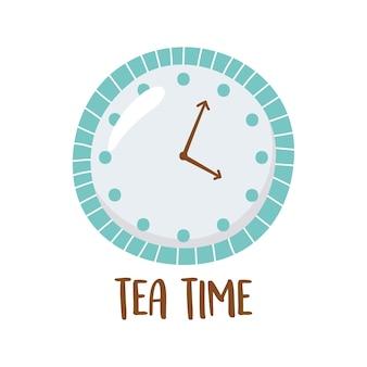 Tè, orologio tea time isolato design illustrazione