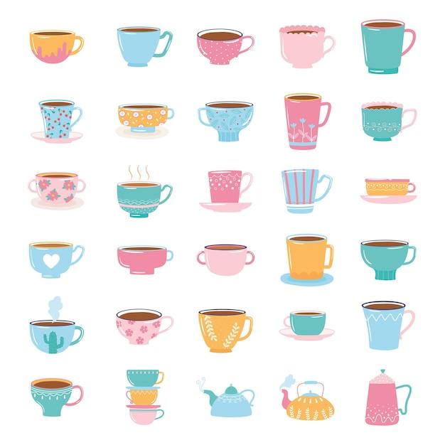 Stoviglie alla moda carino per tè e caffè con decorazioni, bollitori e tazze per l'illustrazione delle bevande