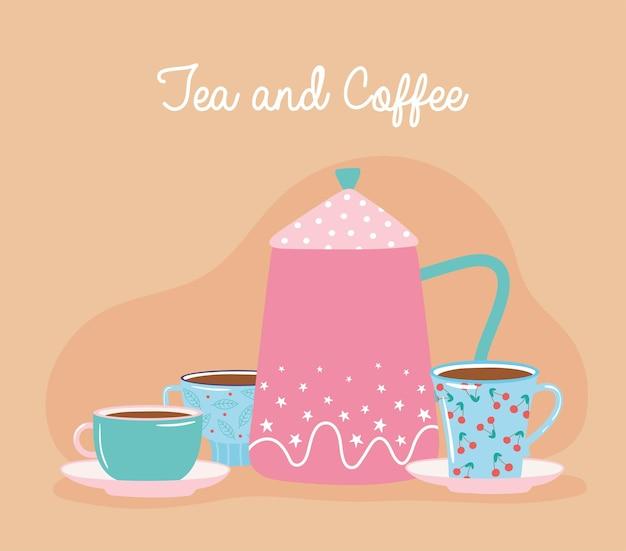 Bollitore per tè e caffè con tazze decorative illustrazione di bevande