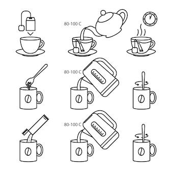 Set di icone di istruzioni per la preparazione di tè e caffè
