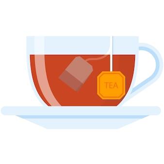 Illustrazione isolata dell'icona di vettore della tazza di tè su white