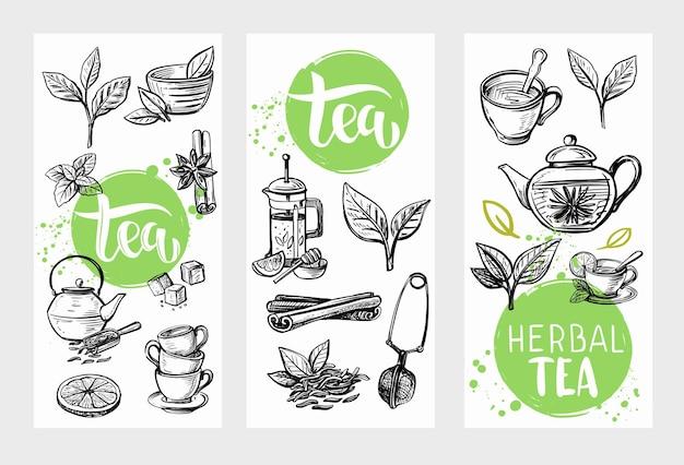Doodle di tè con foglie.