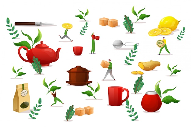 Elementi stabiliti dell'oggetto della bevanda del tè, illustrazione. mattina fare liquido in tazza grande, foglia verde, zucchero di canna, limone e zenzero