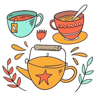 Gli elementi del tè hanno impostato lo stile di doodle. illustrazione di vettore del fumetto colorato. isolato su sfondo bianco.