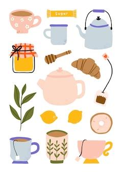 Elementi da tè con collezione di tazza da tè, teiera, miele, limone e croissant