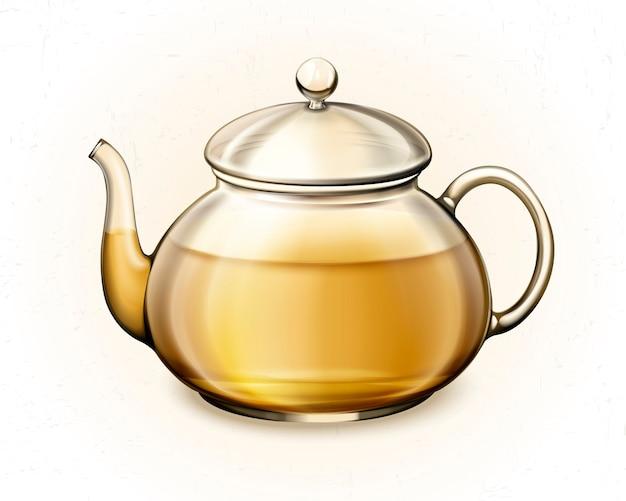 Tè in tazza da tè di vetro su priorità bassa bianca