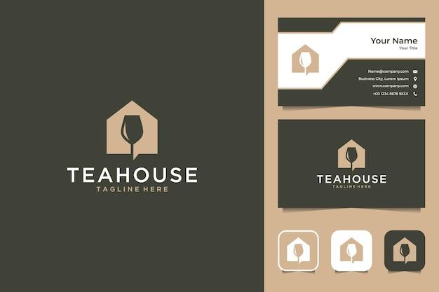 Design elegante del logo e biglietto da visita della casa da tè