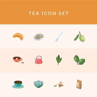 Linea di tè e set di icone di stile di riempimento 12, tema della colazione e delle bevande.