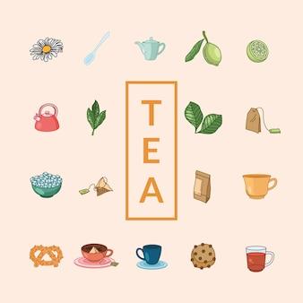 Linea di tè e design della collezione di icone di stile di riempimento, tema della colazione e delle bevande.
