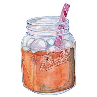Tè nell'illustrazione dell'acquerello dell'annata del barattolo di muratore