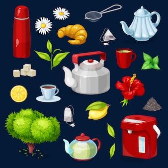 Icone isolate oggetti del tè messe. teiera, tazza
