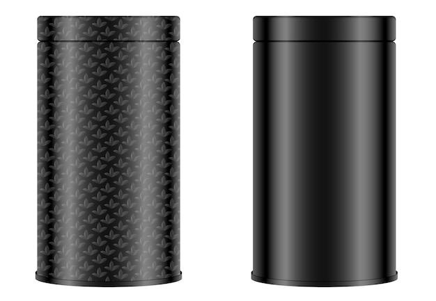Progettazione di imballaggi per il tè. scatola rotonda con e senza ornamento. contenitore nero del pacchetto isolato su fondo bianco. vaso per tè, caffè, spezie e altri prodotti