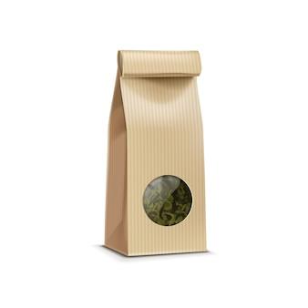 Borsa del pacchetto del pacchetto d'imballaggio della carta del tè con la finestra trasparente isolata