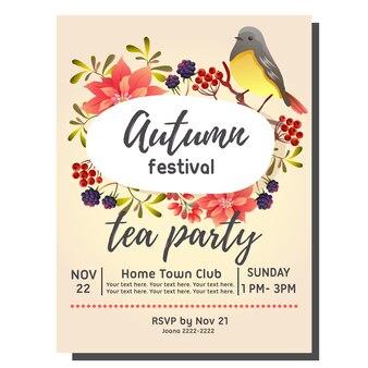 Carta dell'invito di autunno del partito del tè con il canto degli uccelli