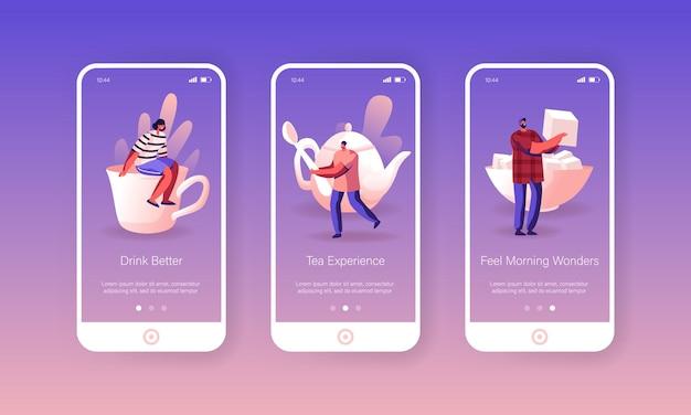Set schermo a bordo pagina dell'app per dispositivi mobili tea party.