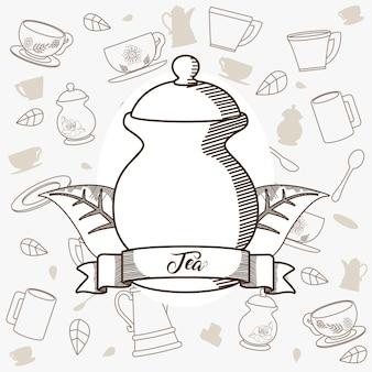 Bollitore in porcellana da tè con bandiera a nastro