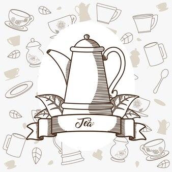 Bollitore in porcellana da tè con bandiera a nastro Vettore Premium